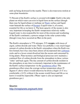 Earth Common Core Info Sheet and Activity