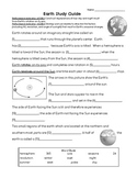 Earth & Constellations Study Guide 4th Grade