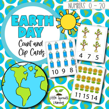 Earth Day Count and Clip Cards - Numbers 1 - 20