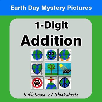 Earth Day: 1-digit Addition - Color-By-Number Mystery Pictures