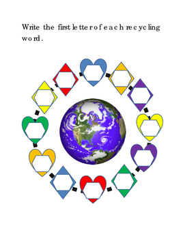 Earth Day 12-Recycling-Words Write First Letter World Earth Picture Shapes 2p