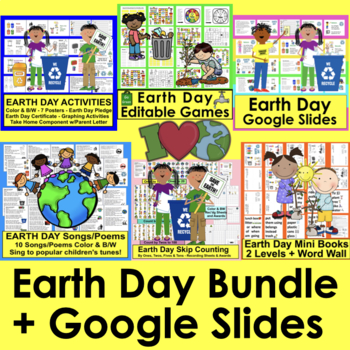 Earth Day Activities: Value Bundle!  Save $5.00: Graphing, Songs, Readers, Math