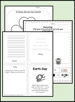 Earth Day Writing Activities for Kindergarten, first grade, second grade