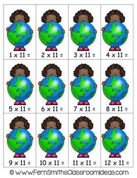 Earth Day Math A Quick and Easy to Prep Multiply By Eleven Center Game