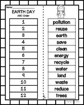 Earth Day ABC Order Freebie