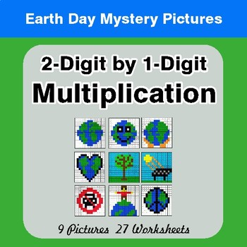 Earth Day: 2-digit by 1-digit Multiplication - Color-By-Number Mystery Pictures