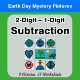 Earth Day: 2-digit minus 1-digit Subtraction - Color-By-Nu