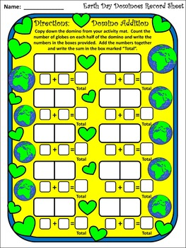 Earth Day Activities: Earth Day Dominoes Spring Math Activity Packet Bundle
