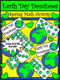 Earth Day Activities: Earth Day Dominoes Spring Math Activity Bundle - Color&BW
