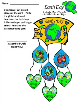 Earth Day Writing Activities: Earth Day Mobile Spring Craft Activity Packet