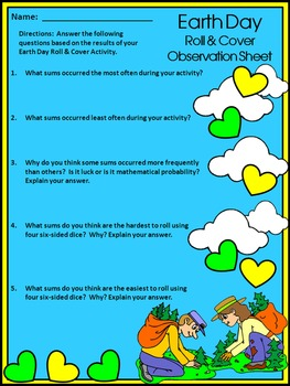 Earth Day Activities: Earth Day Roll & Cover Spring Math Activity Packet