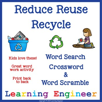 Reduce Reuse Recycle Word Search, Earth Day Word Search