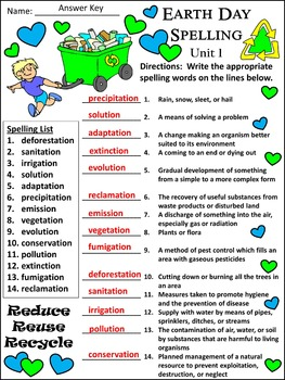 Earth Day Language Arts Activities: Earth Day Spelling Activity Packet Bundle