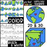 Earth Day 2D & 3D Shapes Clip Art {jen hart Clip Art}
