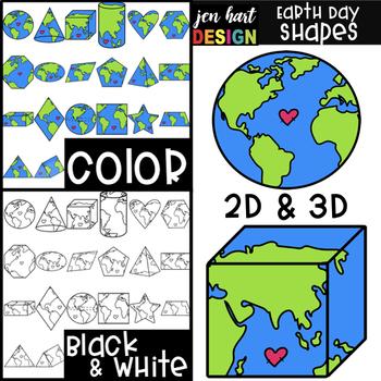 Earth Day 2D & 3D Shapes Clip Art {jen hart Clip Art}
