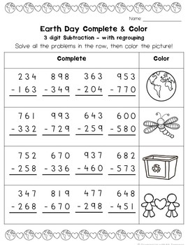 Earth Day 3-Digit Addition & Subtraction (with and without regrouping)