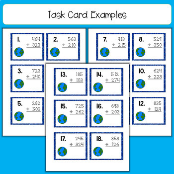 Earth Day 3 Digit, No Regrouping Addition Task Cards