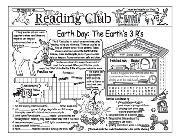 Earth Day 3 R's - Reduce Reuse Recycle Two-Page Activity Set