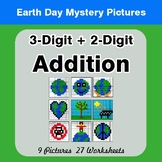 Earth Day: 3-digit + 2-digit Addition - Color-By-Number Math Mystery Pictures
