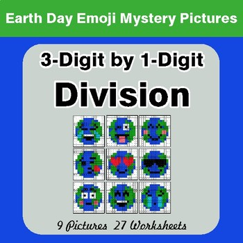 Earth Day: 3-digit by 1-digit Division - Color-By-Number Mystery Pictures