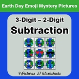 Earth Day: 3-digit minus 2-digit Subtraction - Color-By-Nu