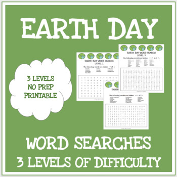 Earth Day - 3 word searches - 3 levels