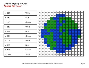 Earth Day: 4-digit by 1-digit Division - Color-By-Number Mystery Pictures