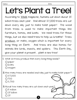 Earth Day!  5 Short Nonfiction Passages with Comprehension Questions