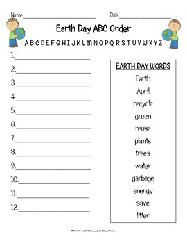 Earth Day ABC Order