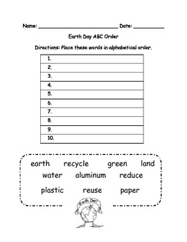 Earth Day ABC order Word Work