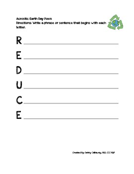 Earth Day Acrostic Poem Set
