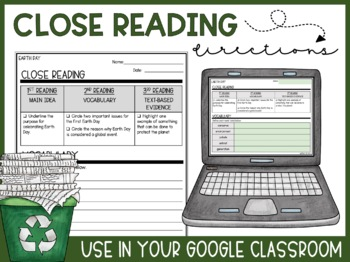 Earth Day Active Reading - Vocabulary, Comprehension, & Assessment - Common Core