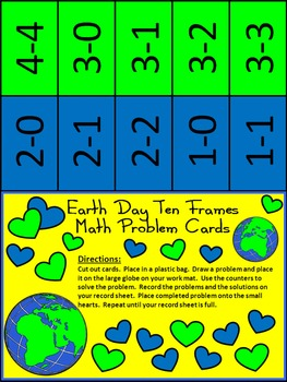 Earth Day Game Activities: Earth Day Ten Frames Math Activity Packet