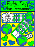Earth Day Game Activities: Earth Day Ten Frames Math Activity - Color Version