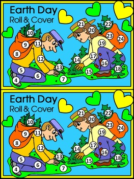 Earth Day Math Activities: Earth Day Roll & Cover Spring Math Activity Packet