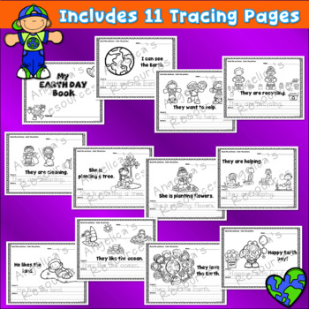 Earth Day Activities Bundle : Literacy, Math, Crowns, Wristbands, and Pennants