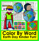 Earth Day Activities:  Color By Word for Kindergarten Sigh