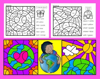 Earth Day Activities:  Color By Word for Kindergarten Sight Words-NO PREP!