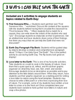 Earth Day Activities and Paragraph Writing Flip Book