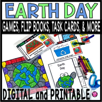 Earth Day Activities Interactive Tab Book Games and More