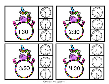 #summer2018 Time To The Half Hour Telling Time Clip Cards Unicorn Theme