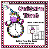 Time To The Half Hour Telling Time Clip Cards Unicorn Theme