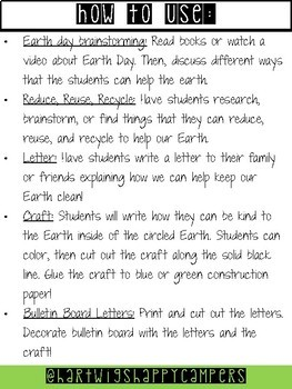 Earth Day Activities and Bulletin Board