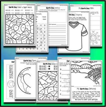 Earth Day Activities and Worksheets - Word Search Solve and Color and MORE