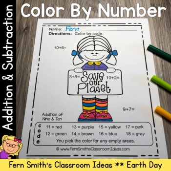 Color By Numbers Earth Day Addition and Subtraction