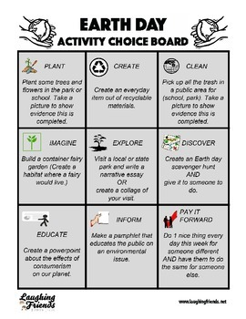 Earth Day Activity Choice Board (Free!)