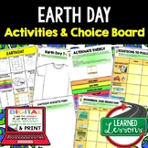 Earth Day Activity, Earth Day Choice Board Digital and Pri