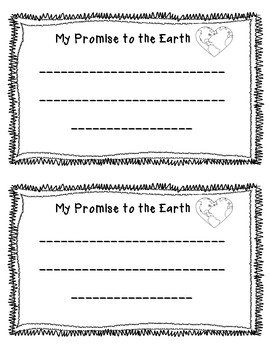 Earth Day Activity: My Promise to the Earth Sheet