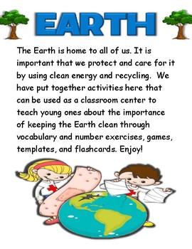 Earth Day Activity Pack / Worksheet set + Flashcards