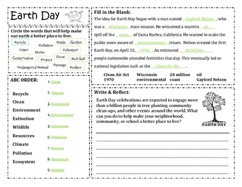 Earth Day Activity Sheet/ Morning Work
